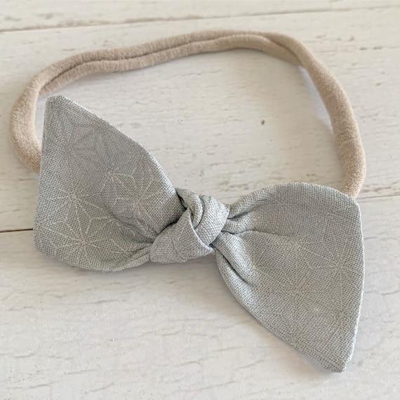 Baby headband- nylon headband- newborn headband- baby hair bows- hair clips- silver hair bows {Frost}