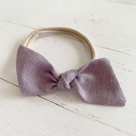Baby girl bow headband {Lavender Shimmer} newborn headband, nylon headbands, hair bows