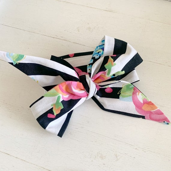 Headwrap hair bow- baby hair bows- baby headband- big bows- toddler bows- black and white