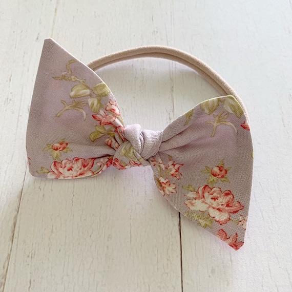 Large knot bow baby headband {Lavender Rose} newborn headbands - nylon headbands - baby girl clothing