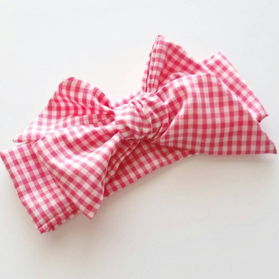 Head wrap {Raspberry Gingham}