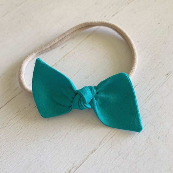 Baby bow nylon headband {Teal} newborn headbands - baby girl clothes - hair bow clips