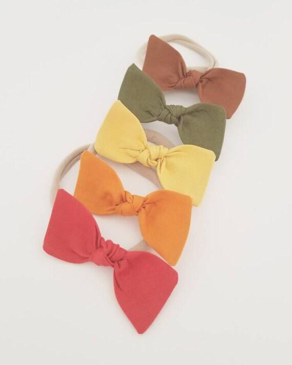 Nylon baby headbands set {Harvest Rainbow} bitsy knot bows