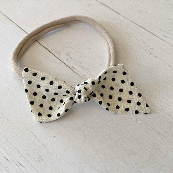 Bitsy knot bow {Black Dotty} baby bows, nylon headbands
