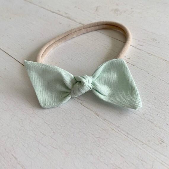 Baby bow headband {Spearmint Green} newborn headbands, baby girl hair bows, nylon headbands