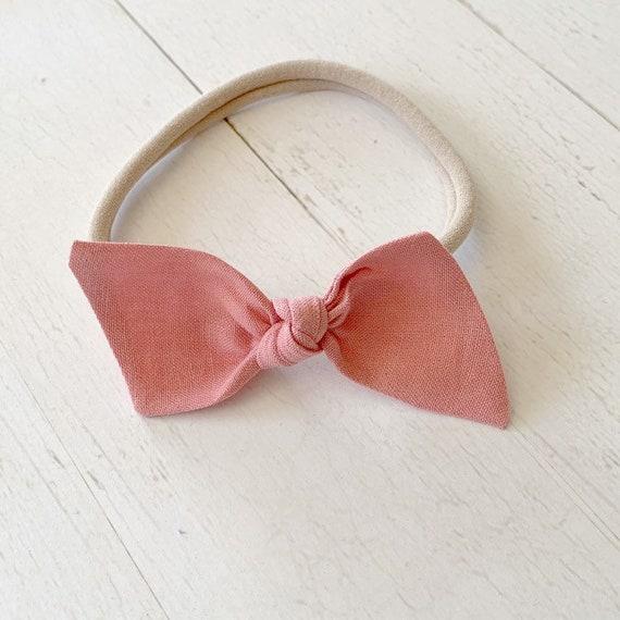 Baby headband {Mauve Pink} nylon headbands, infant bows