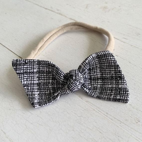 Baby girl headband bow {Bixby} baby hair bows, nylon headbands
