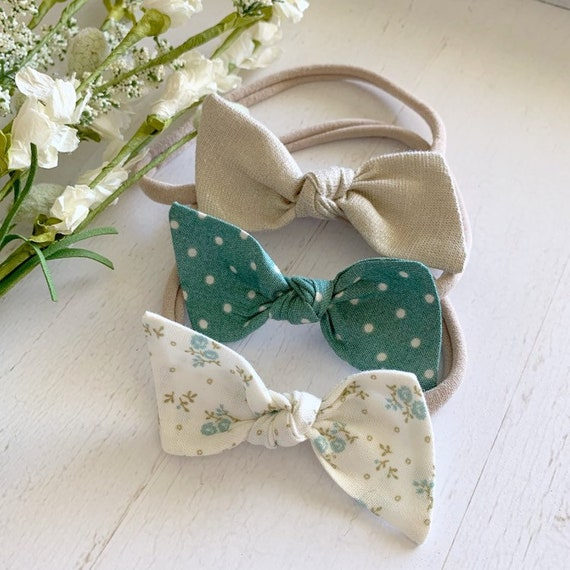 Baby bow nylon headband set {Lena} newborn headbands - baby girl clothes - hair bow clips