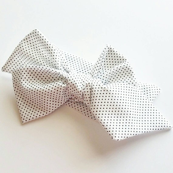 Headwrap, Micro black polka dots on white, baby bows, baby headwraps, baby belts