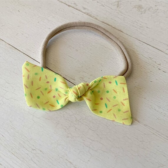 Bitsy knot bow {Confetti} nylon headbands, baby hair bows