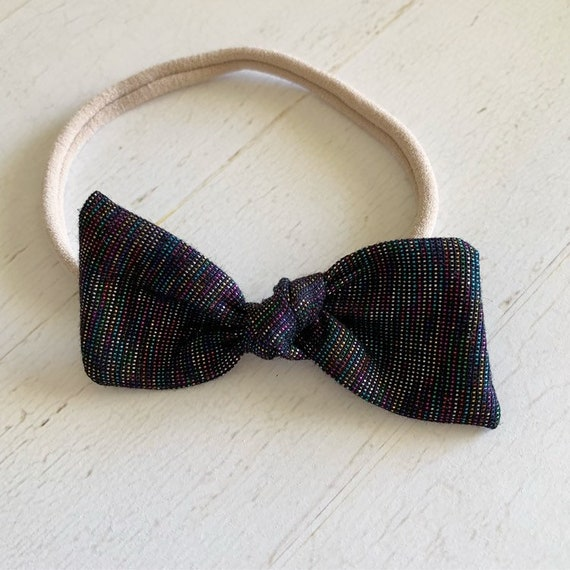 Baby girl bow headband {Gatsby} newborn hair bows - black hair bows - baby girl clothes - hair bow clips