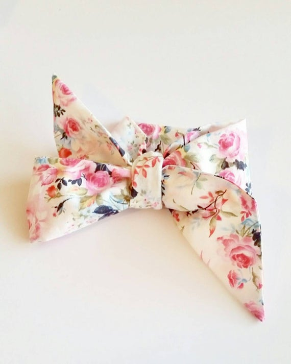 Head wrap, {Floral on White} baby headbands, fabric hair bows, hair accessories