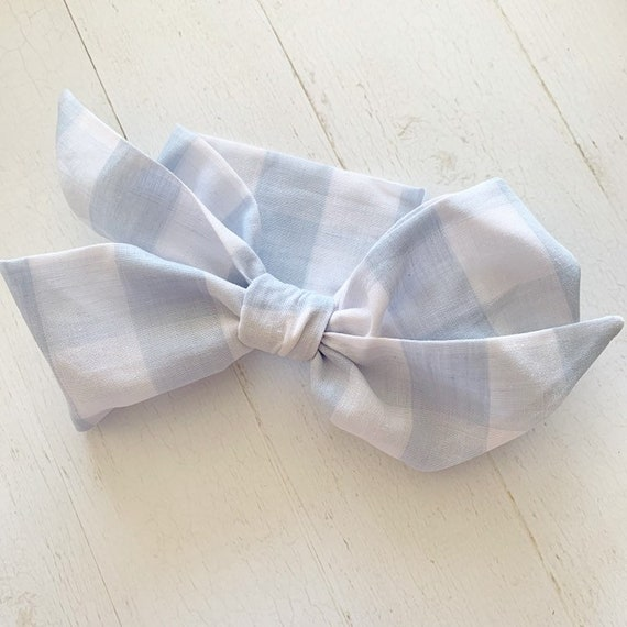 Baby headwrap bow- baby headband- newborn headband- big hair bows {Big Blue Gingham}