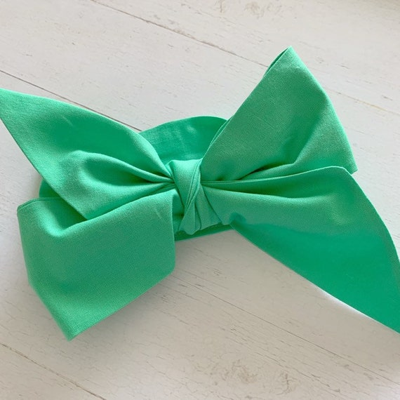 Baby girl headwrap bow {Spring Green} toddler bows - baby girl clothing - newborn headbands