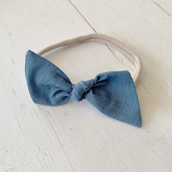 Bitsy knot bow {Denim Blue} nylon headband, baby bows