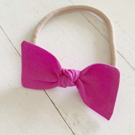 Bitsy knot bow headband {Boysenberry} newborn headbands - purple hair bows - hair bow clips