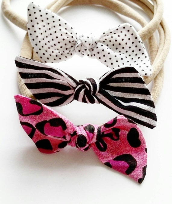 Baby nylon head bands set {Pink Leopard} baby bows, fabric bows