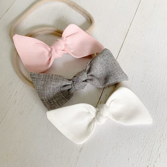 Baby headband bow set {Ella} newborn headbands, baby girl hair bows, nylon headbands