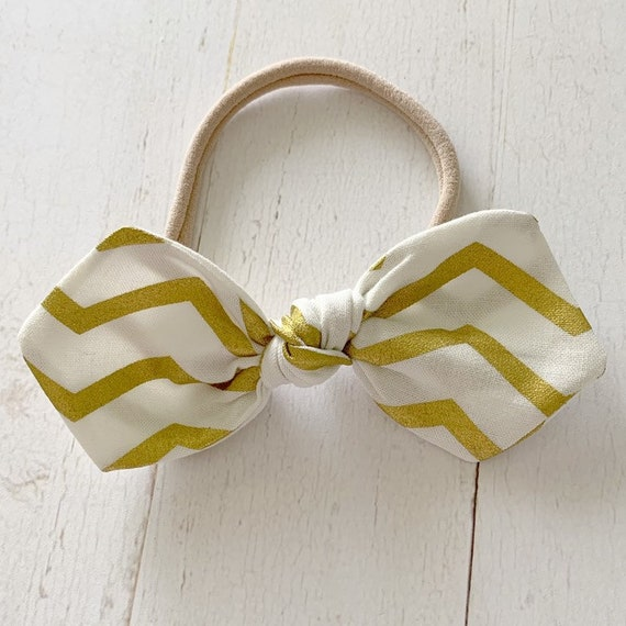 Large knot bow headband {Gold Chevron} newborn headbands, baby girl clothes, baby shower gifts