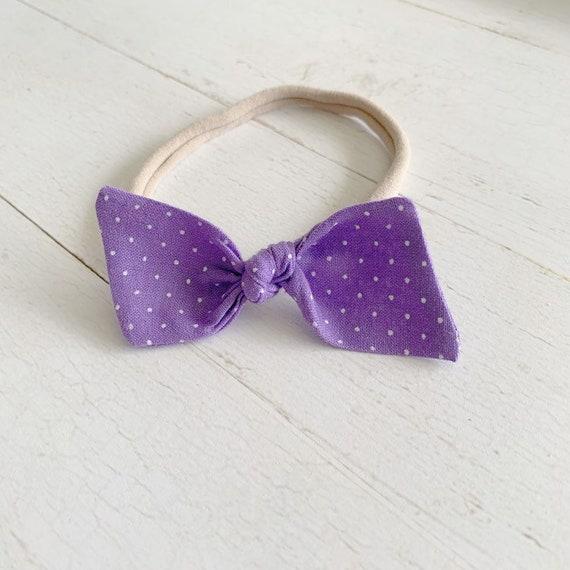 Baby bow headband {Dots on Lavender} newborn bows, baby hair bows, nylon headbands
