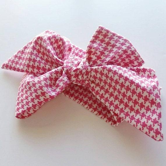 Baby girl head wrap { Raspberry Houndstooth } baby bows, headbands, turbans