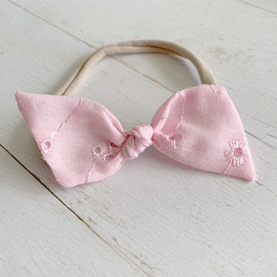 Baby girl headband bow {Pink Ila} baby hair bows, nylon headbands