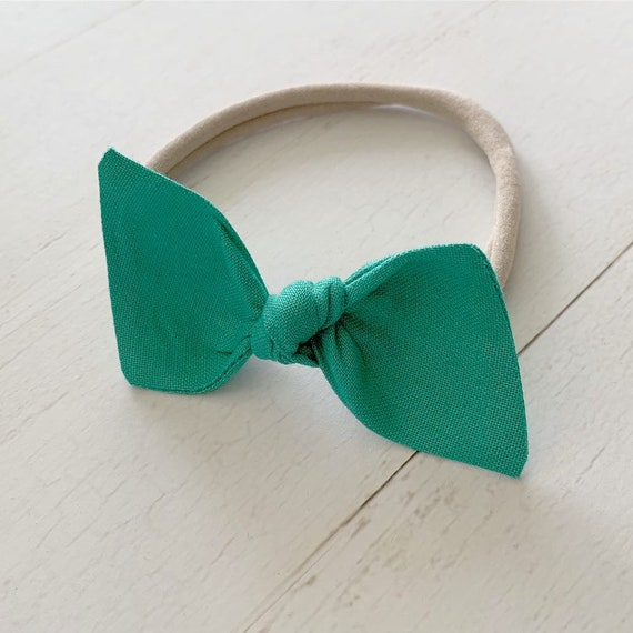 Baby girl bow nylon headband {Oasis Green} newborn headbands