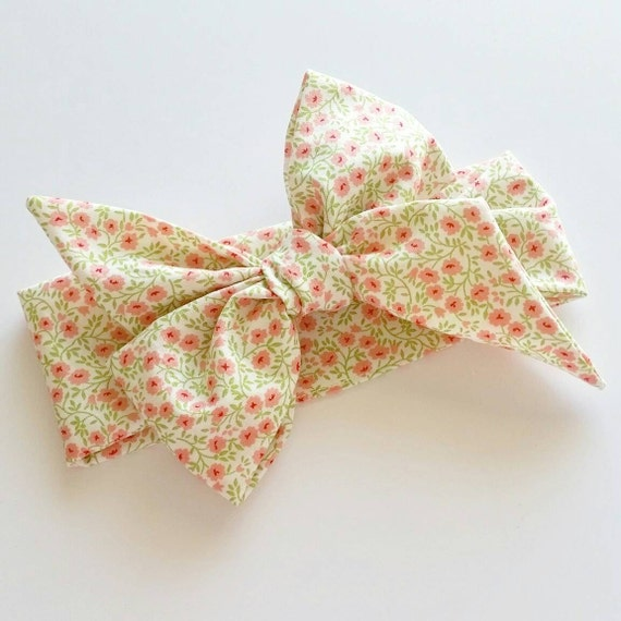 Head wrap {Pink Blossom} bows, fabric bows, hair accessories