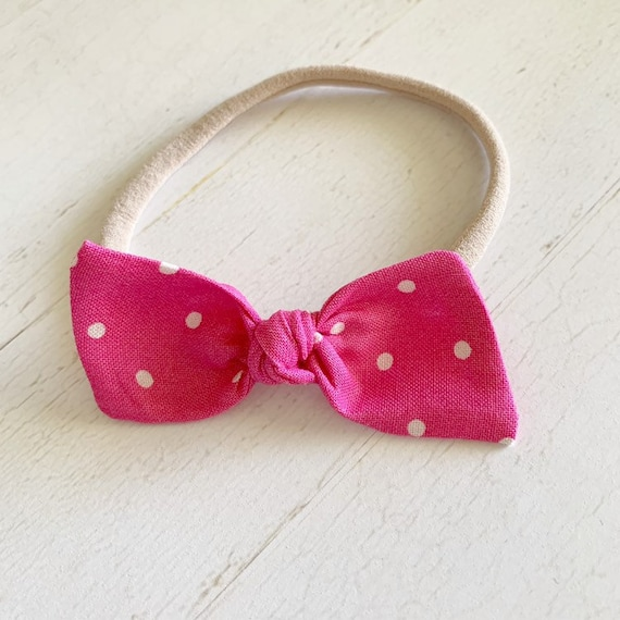 Baby bow nylon headband {Pink&Dots} newborn headbands -baby girl clothes - hair bow clips