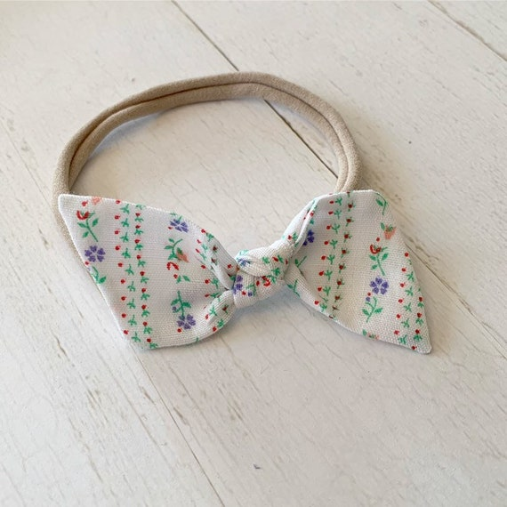 Baby bow {Rosemary} nylon headbands, bitsy knot bow