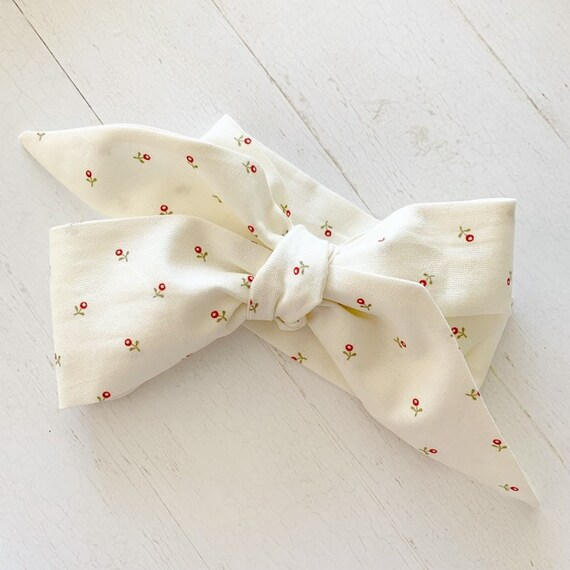 Baby bow headwrap- big bows- newborn headband-  baby headband {Mini Red Rosette}