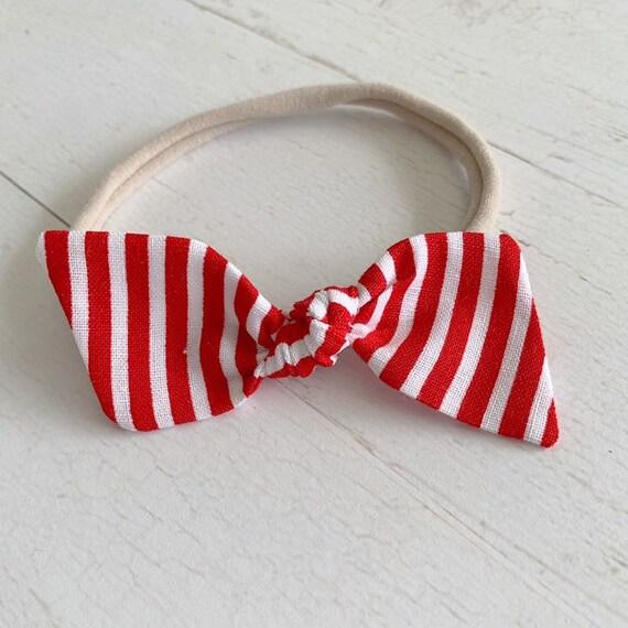Baby girl headband bow {Strawberry Stripes} baby hair bows, nylon headbands