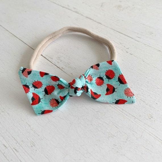 Baby bow headband {Ladybug} baby hair bows, nylon headbands