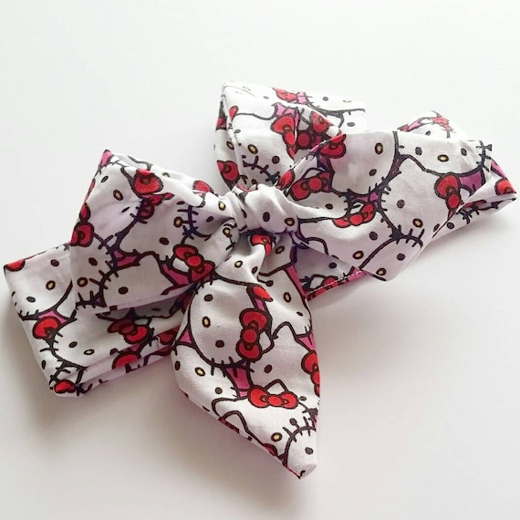 Little girl head wrap {Hello Kitty} baby bows, hair accessories