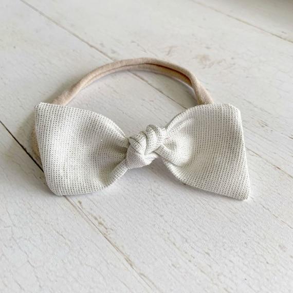 Baby bow headband {White Shimmer} blessing bow, baptism, newborn headbands, baby girl hair bows