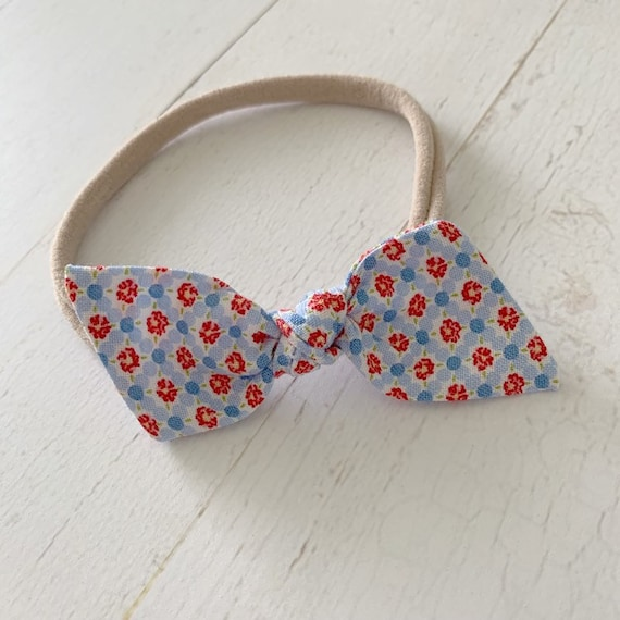 Baby bow nylon headband {Liberty} newborn headbands, baby girl clothes, 4th of july bows