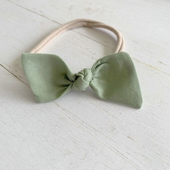 Baby bow headband {Sage Green} newborn headbands, baby hair bows