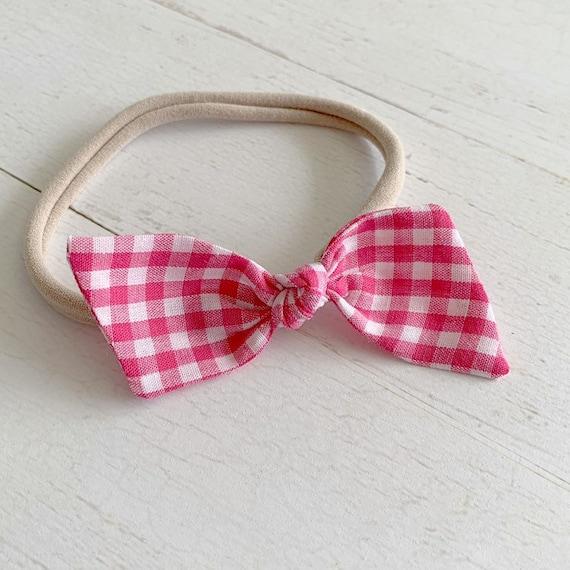 Baby girl nylon headband bow {Raspberry Gingham} baby hair bows