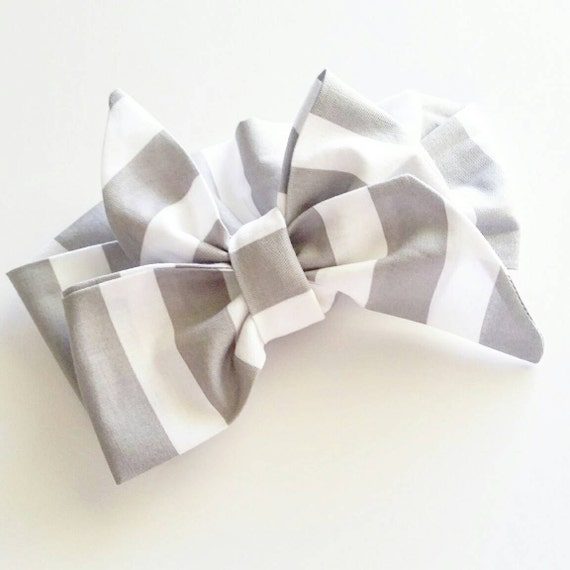 Head wrap {Gray & White} baby bows, women's head wraps