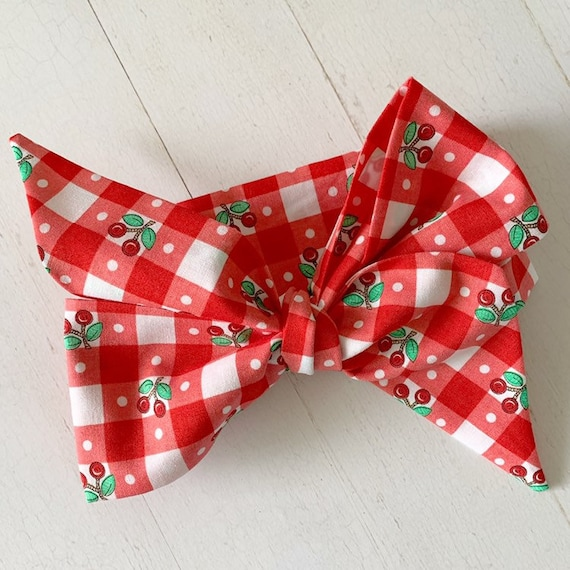 Baby headwrap bow {Cherry Picnic} newborn headbands - baby girl clothing - baby hair bows