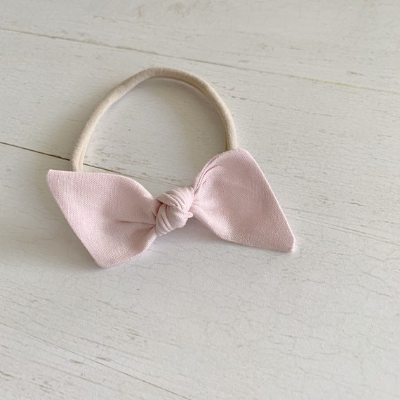 Bitsy knot bow {Blush Pink} nylon headbands, baby hair bows