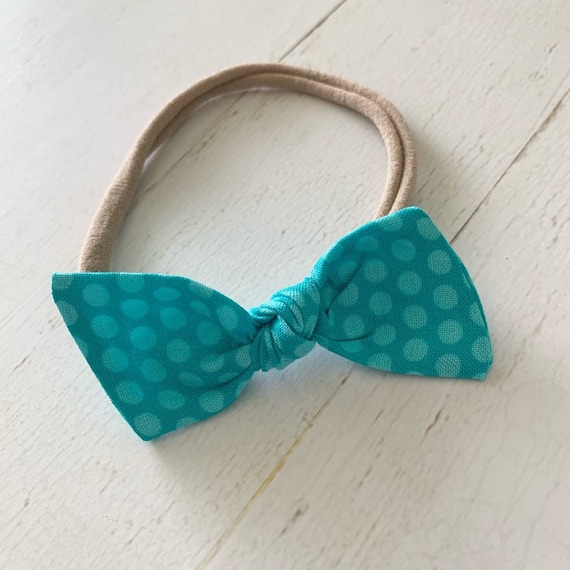Baby bow nylon headband {Turquoise Dots} newborn hair bows, newborn headbands, baby girl gifts, hair clips