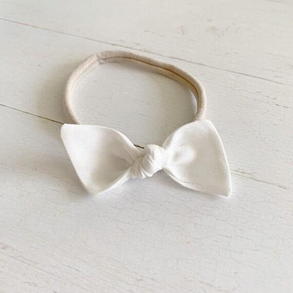 Baby nylon headband {Snow} baby bows, bitsy knot bow