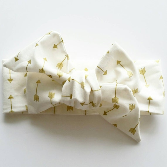 Baby girl head wrap {Golden  Arrows} baby bows, hair accessories