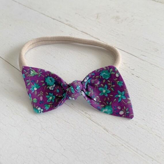 Baby bow headband {Turquoise Rose} baby hair bows, newborn headbands, nylon headbands