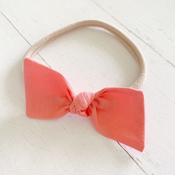 Bitsy knot bow headband {Coral} newborn headbands - baby girl hair bows - hair bow clips