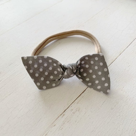 Baby girl headband bow {Dots on Gray} newborn headbands, nylon headbands, hair bow clips
