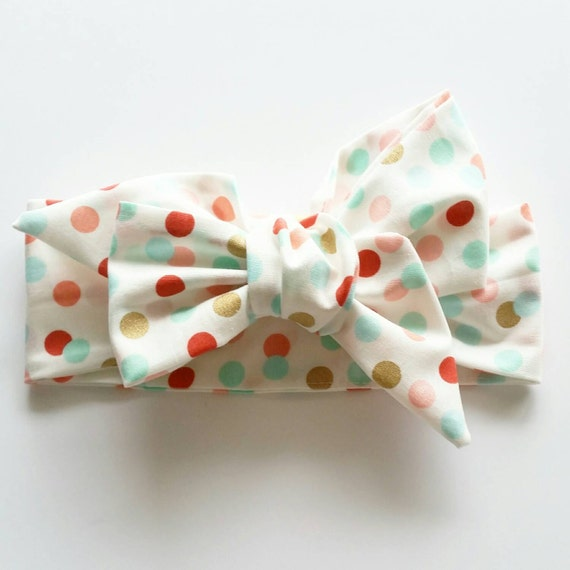 Baby headband {Dots} baby biws, little girl bows, hair accessories