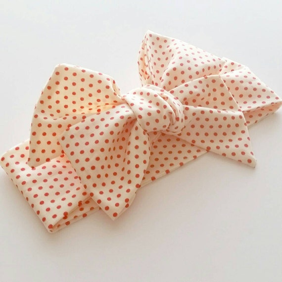 Head wrap {Red Dotty} baby bows, baby headbands, hair accessories