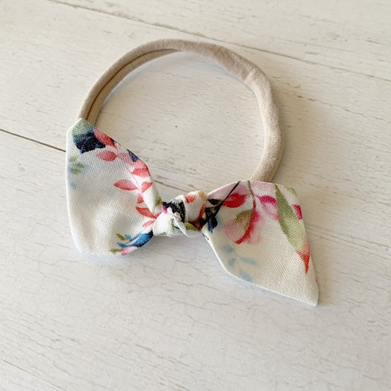 Bitsy knot bow {Floral on White} nylon baby headbands, baby bows